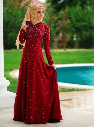 Lilyum Evening Dress - Maroon - Minel Ask 188859