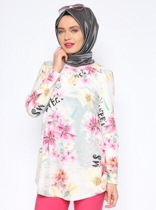 Çiçek Desenli Bluz - Pembe - Missmira
