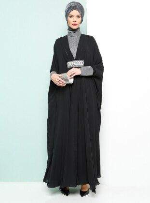 Armine Taş Detaylı Abiye Elbise - Siyah