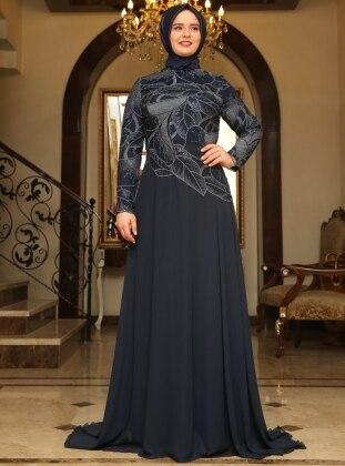 Spring Evening Dress - Navy Blue - Saliha 191953