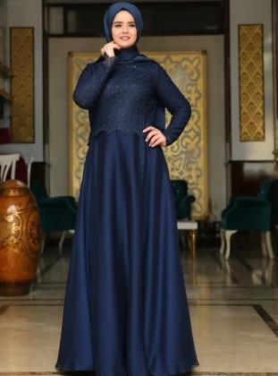 Evening Dress - Navy Blue - Saliha 191960