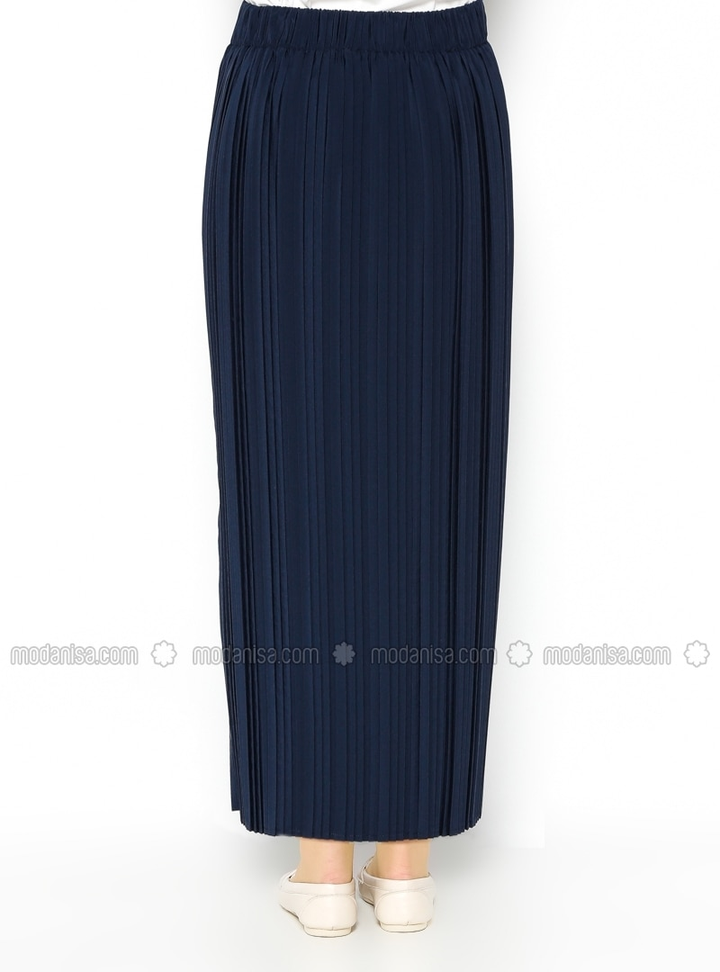 pleated skirt navy blue skirts modanisa