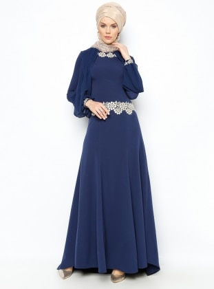 Guipure Detailed Evening Dress - Navy Blue - Mileny 194739