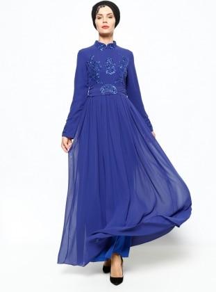Harem Evening Dress - Navy Blue - Azra Ozer 196160