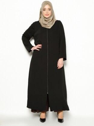 Zippered Abaya - Black - ModaNaz 196319