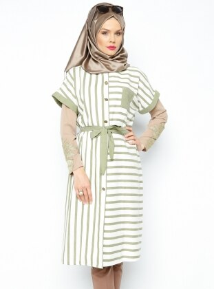 Striped Sleeveless Tunic - Almond - Nihan 197066