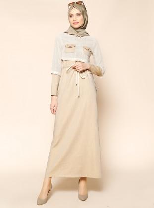 Beli Bağcıklı Elbise - Bej