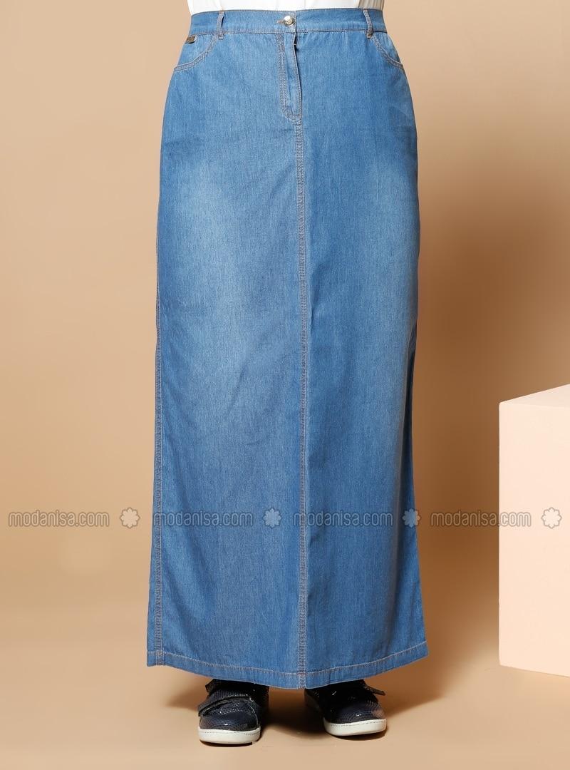 denim skirt blue plus size skirts modanisa