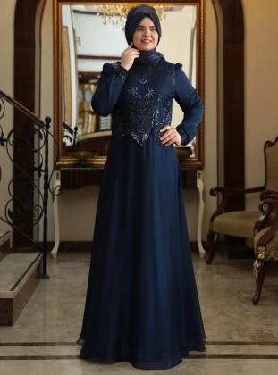 Best Evening Dress - Navy Blue - Saliha 199173