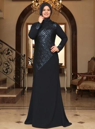 Silver Evening Dress - Navy Blue - Saliha 199174