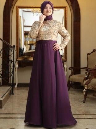 Sultan Abiye Elbise - Gold&Mürdüm - Saliha