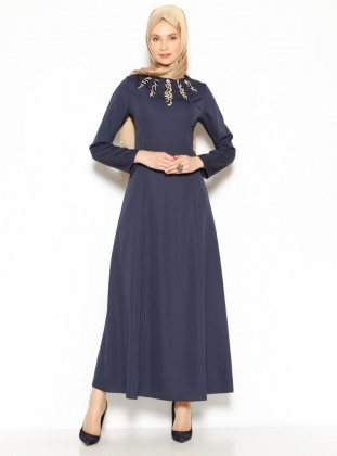 Collar Detailed Dress - Navy Blue - Mileny 200029