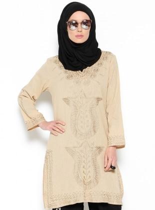 Buldan Bezi İşlemeli Tunik - Camel - Hoşgörcü