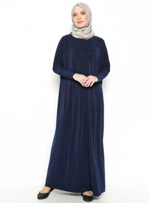 Yarasa Kollu Elbise - Lacivert - Eflatun