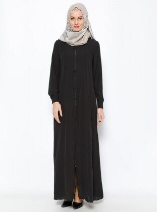Zippered Abaya - Black - ModaNaz 202176