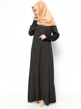 Zippered Abaya - Black - ModaNaz 202137