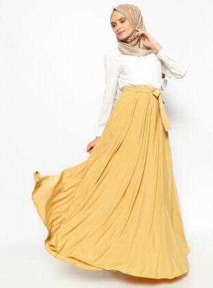 Pileli Verev Etek - Safran - Pınar Şems