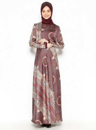 Patterned Dress - Plum - Esswaap 203249