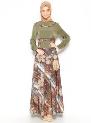 Patterned Dress - Green - Esswaap 203251