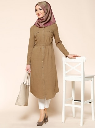Buttoned Tunic - Green - Puane 202675