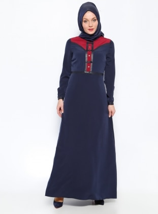 Bow Detailed Dress - Navy Blue - Burgundy - Esswaap 203234