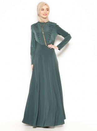 Necklece Detailed Dress - Green - Esswaap 203237