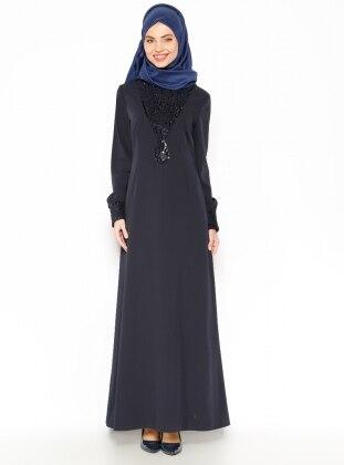 Sequined Evening Dress - Navy Blue - Esswaap 203247