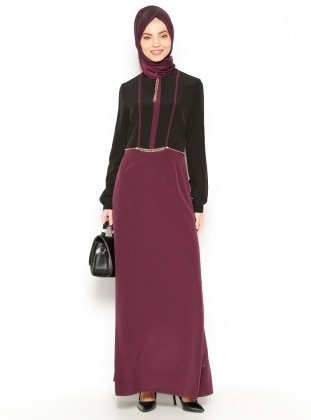 Chain Detailed Dress - Plum - Esswaap 203240