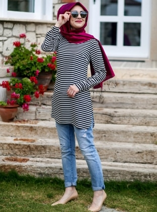 Striped Tunic - Black & White - Minel Ask 203605