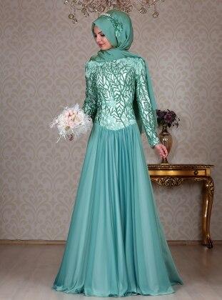 Akasya Evening Dress - Mint - ULVIYE PORTAKAL