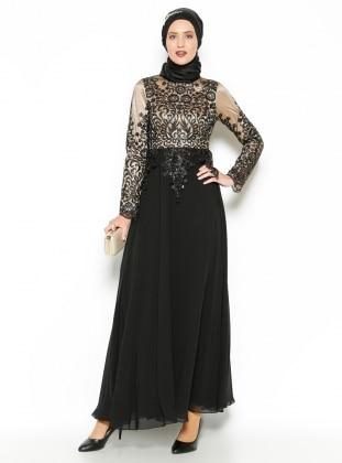 Dantel Detaylı Abiye Elbise - Siyah -Bej