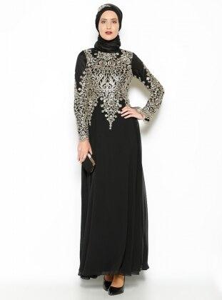 Dantel Detaylı Abiye Elbise - Siyah -Gold