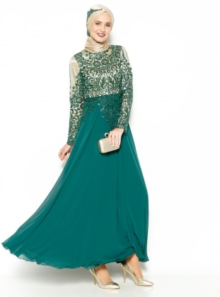 Lace Detail Evening Dress - Green - MODAYSA 204963