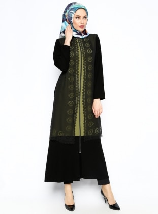 Fermuarlı Ferace - Yeşil CML Collection