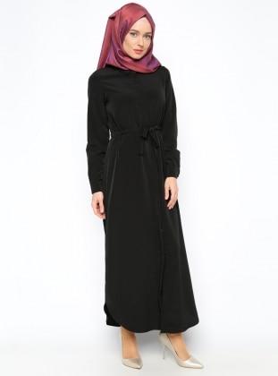 Hidden Button Dress - Black - Dadali 204833