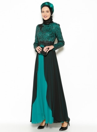 Guipure Detail Evening Dress - Green - MODAYSA 204954