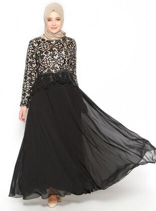 Payetli Abiye Elbise - Siyah Bej