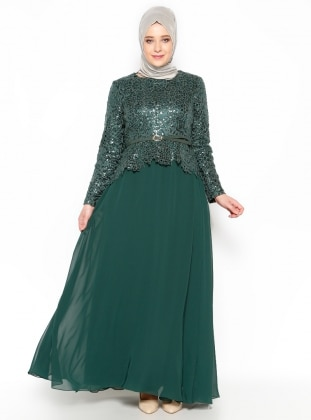 Sequined Evening Dress - Green - MODAYSA 204974