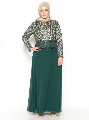 Sequined Evening Dress - Green - Beige - MODAYSA 204971