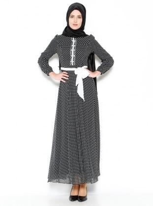 Puantiyeli Elbise - Ekru -Siyah