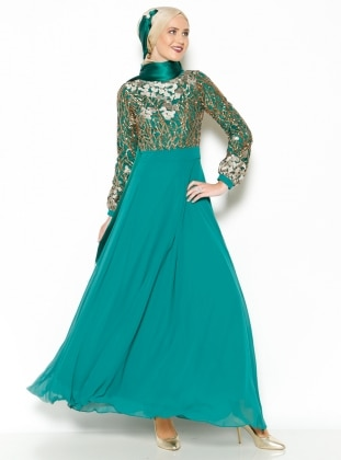 Embroidered Evening Dress - Green - MODAYSA 204958
