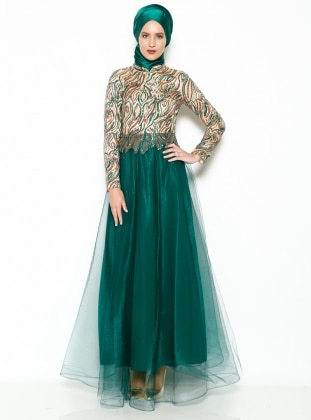 Sequined Evening Dress - Green - MODAYSA 204948