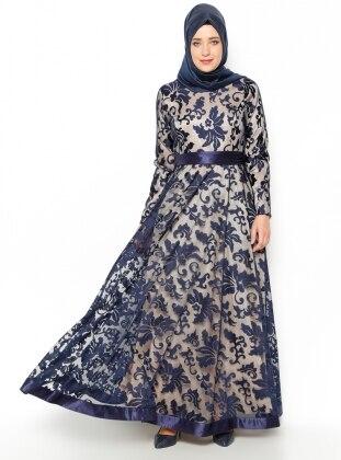 Evening Dress - Navy Blue - MODAYSA 204976