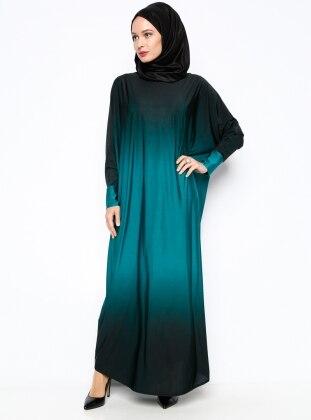 Yarasa Kollu Ferace - Yeşil - Topless