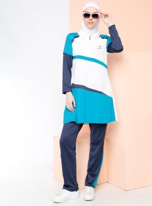 Tenis Spor Kıyafeti - Petrol Mavisi - Haşema