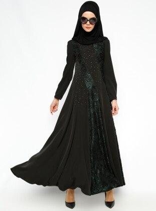 Drop Printed Evening Dress - Green - Esswaap 205929
