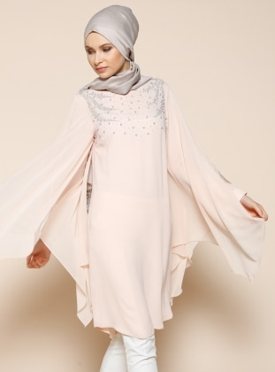 Pearl Detailed Evening Tunic - Powder - Puane 206259