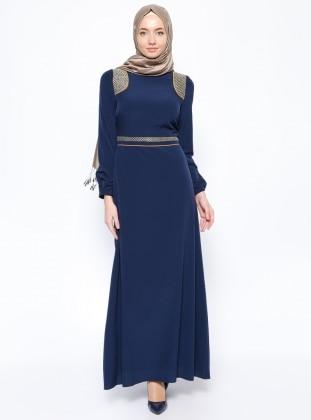 Lamellar shoulders Dress - Navy Blue - Esswaap 253446