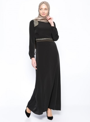 Lame Detailed Dress - Black - Esswaap 205922