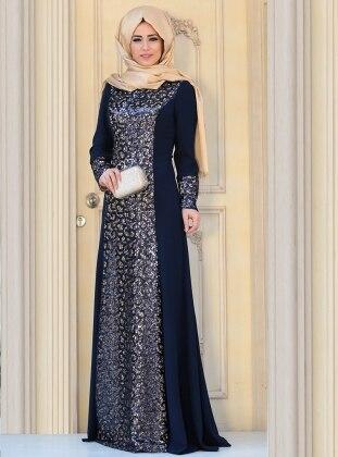 Sofia Evening Dress - Navy Blue - Zehrace 205892
